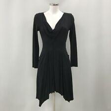 Reiss Dress Womens Size UK 10 Black Ruffle Cowl Neck Long Sleeved Casual 301279