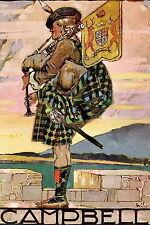 Art Print Family Clan CAMPBELL Bagpiper Scottish Tartan Kilt Highlander Bagpipes
