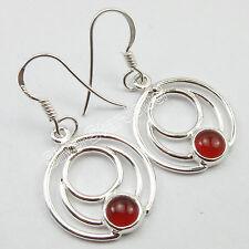 PIERCED Spiral Earrings, .925 Sterling Silver RED CARNELIAN Jewelry 3.6x1.9 CM