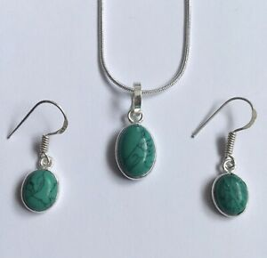 Dainty, Green Turquoise Necklace & Earrings in 925 Silver Plate. Set. UK.