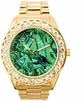 Fully Iced Men Gold Watch Green Bling Rapper Simulate Lab Diamond Luxury Band