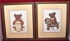"Homco Bear Pictures Honey Horse 11"" x 13"" 2T-998 1770Ac Set of 2 Home Interior"