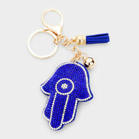 New Crystal Pave Trim Hamsa Hand Tassel Key Chain Handbag Charm