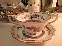 Antique George Jones & Sons England Tea cup and Saucer Floral 1861-1951 Mark