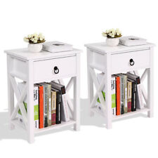Set Of 2 Nightstand Table 2 Tier 1 Drawer End Table Home Organizer Furniture