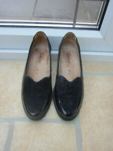 GABOR comfort LADIES SLIP ON SHOES NAVY BLUE LEATHER AND SUEDE SIZE 5G