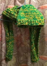 VTG Hat & Scarf MATCHING SET Green Yellow MID CENTURY Hand Made LOVELY