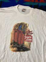 vintage single stitch t shirt Tony Lama Boots Cowboy Western Oneita XL White 90s