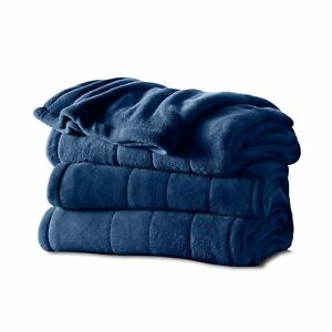 Sunbeam Heated, Royal Blue, Microplush Blanket w/ Dial Controller, Full or Queen