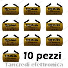 10pz BATTERIA RICARICABILE NI-CD SC 1,2V 2000mAh 22x42mm A SALDARE NICD LAMELLE