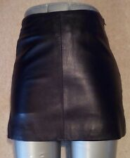 KOOKAI Lambskin BLACK Real LEATHER MINI SKIRT uk10 us6 eu36 Waist w25ins w64cms