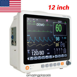 "Portable 12.1"" Touch Screen Patient Monitor Vital Signs ECG NIBP RESP TEMP SPO2"