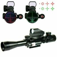 3-9X40 Tactical Rifle Scope + Red Green 4 Reticle Holographic Sight & Red Laser