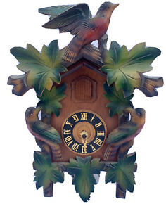 TRADITIONAL CUCKOO CLOCK PARROT DESIGN MADE IN GERMANY WOODEN CLOCK METAL CONES
