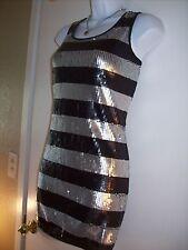 Formal dress PROM ARDEN B. Sequin Black Silver Sparkle Short Bling MEDIUM 6 8