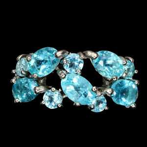Oval Neon Blue Apatite 6x4mm 14K White Gold Plate 925 Sterling Silver Ring 7