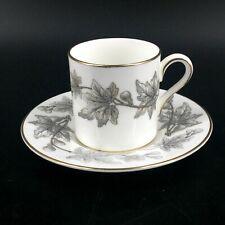 Vintage Wedgwood England Ashford Gray Bone China Demitasse Espresso Cup & Saucer