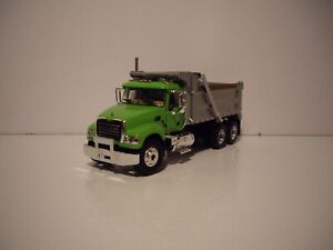FIRST GEAR DCP 1/64 LIME GREEN AND SILVER MACK GRANITE TANDEM AXLE DUMP TRUCK