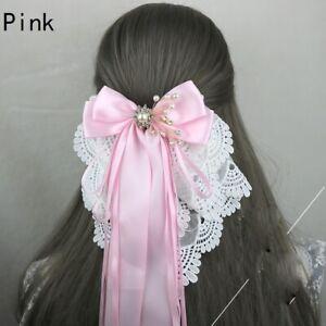 Lolita Girls Hair Clip Lace Satin Bowknot Headwear Wedding Party Cosplay Fairy
