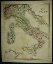 1850 LARGE ANTIQUE HAND COLOURED MAP ~ ITALY SARDINIA TUSCANY PIEDMONT ROME
