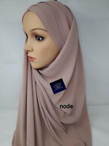 TURBAN Hijab Criss Cross Motorhaube Lycra Elastisch Zum Überziehen vorgefertigte Chiffon