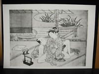 "Kunstblatt Japanisch Bild Der Frühlings- "" Shunga 春画 Suzuki Hokusai? Papier"