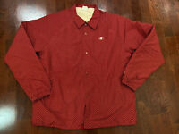 Champion Men's Shirt Collar Snap Jacket, Fully Lined W Fake Fur, Red/wht, Large