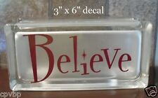 Believe Christmas Decal Sticker for Glass Block DIY Crafts