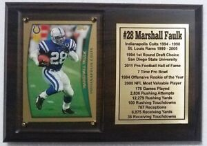 Indianapolis Colts Marshall Faulk Football Card Plaque