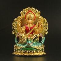 """4.9"""" Tibet Tibetan Buddhism Resin Gild Eloquence Tiannu Goddess Buddha Statue"""