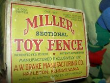 Rare antique labeled 1920 boxed Miller Christmas tree or  00006000 toy train fence, 12 pc.