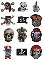 SKULL Skeleton Iron Sew On Patch Goth Pirate Rock Biker Iron on Patch