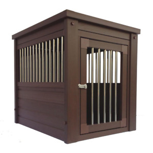 ECOFLEX Dog Crate End Table Russet Small Indoor Kennel Wood Dog House
