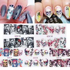 5 Sheets Nail Art Water Decals Skull Halloween Manicure Transfer Stickers Tips