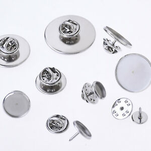 Stainless Steel Brooch Blank Tie Tack Clutch Lapel Pin fit round cabochons 20pcs
