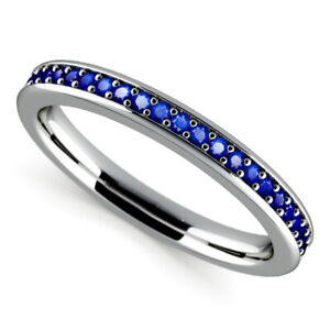 Real 0.50 Ct Blue Sapphire Gemstone Diamond Band 950 Platinum Bands Set Size N P