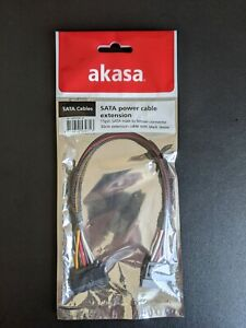 Akasa SATA Power Extension Cable - 15 Pin Male to Female - 30cm