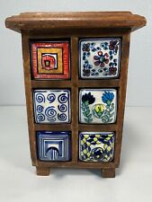 Wooden Curio 6 Drawer Chest w/Painted Ceramic Drawers Handmade Hand Painted SDS