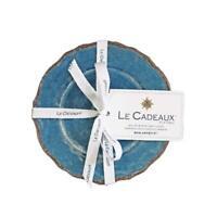 Le Cadeaux Antiqua Blue Melamine Appetizer Four Plate Set