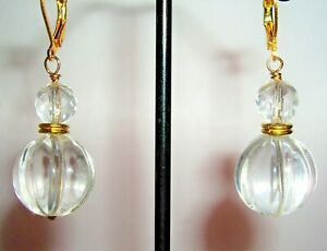NATURAL ROCK CRYSTAL(QUARTZ) BAUBLE EARRINGS W' GOLD PLATED LEVERBACKS