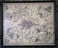 The Environs of London England City Vintage Original 1855 Colton Atlas Map Rare