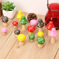 3pcs Wood Mushroom Miniature Fairy Garden Decoration Craft Micro Landscape Decor