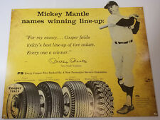 MICKEY MANTLE NAMES WINNING LINE-UP COOPER TIRES GAS STATION HEAVY METAL AD SIGN