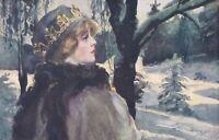 A Dobrowolski  Lady in winter Scene