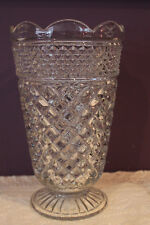"""ANCHOR HOCKING WEXFORD 10-1/2"""" CLEAR GLASS FOOTED FLOWER VASE"""