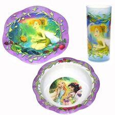 3pc Dining Feeding Set Plate Bowl Tumbler Disney Tinkerbell Fairies Purple New