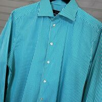 ETON Contemporary Fit 100% Cotton Dress Shirt Teal Stripe Men's 16.5/42