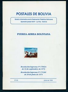 POSTALES DE BOLIVIA #90 JUNE 1994 W/ DECREES FOR 1973-1974 ISSUES AS SHOWN