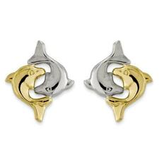 Rhodium Polished Double Dolphin Post Earrings Madi K 14k Yellow Gold &