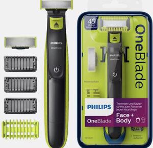 Philips OneBlade Face+Body Elektrischer Rasierer+Trimmer, 4 Aufsätze, Neu Ovp